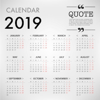 Calendar for 2019 on grey background