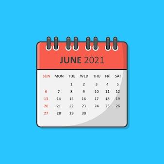 2021年のカレンダー。 2021年6月カレンダーフラット