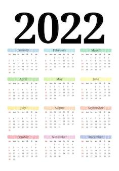 흰색 배경에 격리된 2022년 달력입니다. 일요일부터 월요일까지의 비즈니스 템플릿입니다. 벡터 일러스트 레이 션