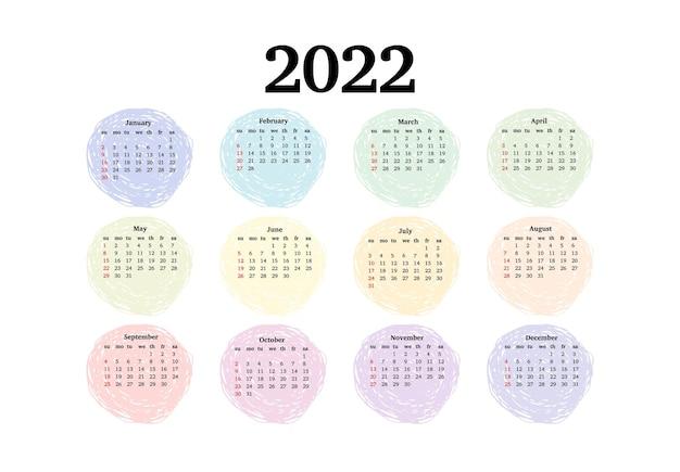 白い背景で隔離の2022年のカレンダー。日曜日から月曜日、ビジネステンプレート。ベクトルイラスト
