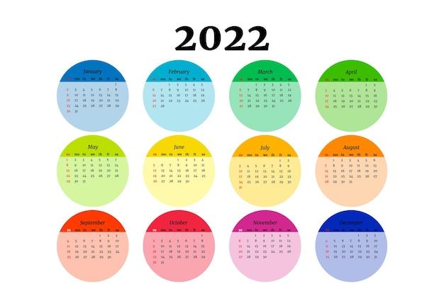 Календарь на 2022 год, изолированные на белом фоне. с воскресенья по понедельник, деловой шаблон. векторная иллюстрация