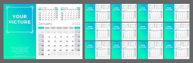 Календарь на 2022 год неделя начинается в воскресенье 12 страниц шаблон с местом для фото