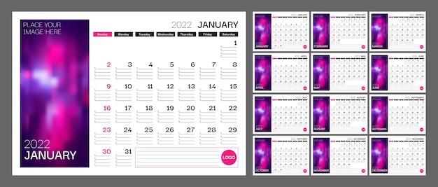 Календарь на 2022 год неделя начинается в воскресенье комплект из 12 страниц календаря шаблон с местом для фото