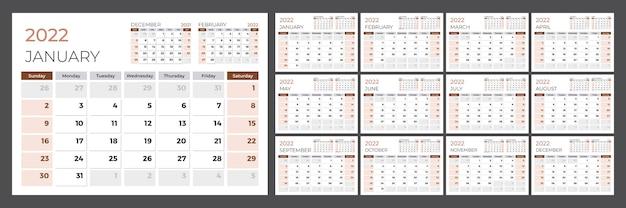 Календарь на 2022 год. неделя начинается в воскресенье. набор страниц на 12 месяцев. векторный шаблон дизайна.