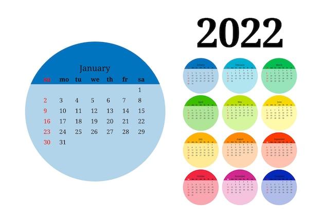 白い背景で隔離の大きな1月の2022年のカレンダー。日曜日から月曜日、ビジネステンプレート。ベクトルイラスト