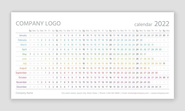 2022年のカレンダー。線形プランナーテンプレート。ベクトルイラスト。