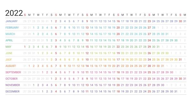 2022年のカレンダー。リニアプランナーテンプレート。ベクトルイラスト。