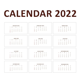 Календарь на 2022 год неделя начинается в воскресенье векторный шаблон с цветочным орнаментом красочного потока