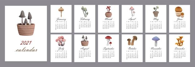 다양한 종류의 버섯 odobrezoviki가있는 매달 달력