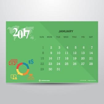 Шаблон календаря на январь 2017 года