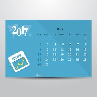 Шаблон календаря на июль 2017 года