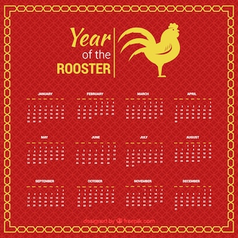 黄色の詳細とオンドリの年のカレンダー