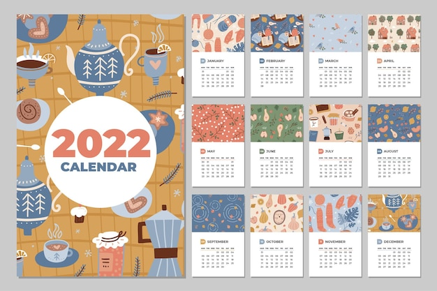 Calendar  fun cozy and cute monthly calendar vector template with hand drawn hygge cups desserts and...