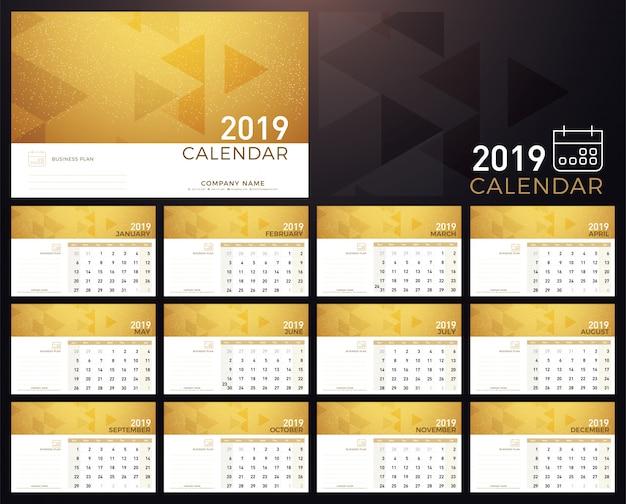 Calendar golden planner 2019 year
