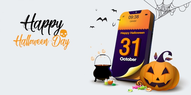 Calendar halloween day on mobile phone