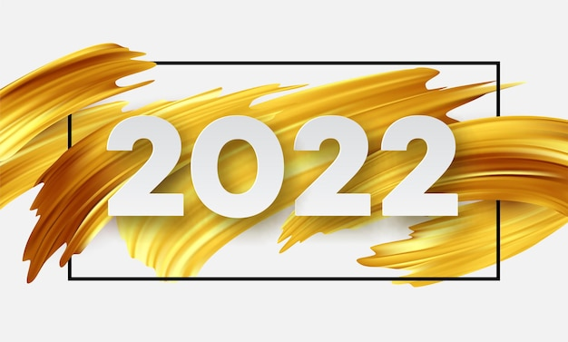 Calendar header 2022 number on abstract golden color paint brush strokes. happy new year 2022 yellow background.
