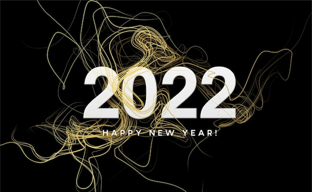 Calendar header 2022 with golden waves swirl with golden sparkles on black. happy new year 2022 golden waves background.