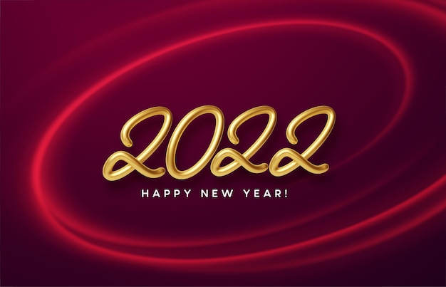 Calendar header 2022 with realistic metallic gold number on red wave swirl with gold sparkle. happy new year 2022 red background.