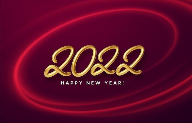 Intestazione del calendario 2022 con numero d'oro metallico realistico su un vortice di onde rosse con scintillii dorati. felice anno nuovo 2022 sfondo rosso.