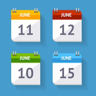 Calendar icon set isolated on a blue background.
