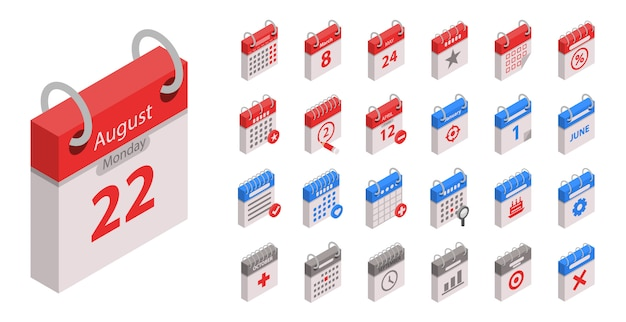 Calendar icon set. isometric set of calendar vector icons for web design isolated on white background