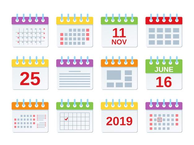カレンダーアイコン、年次予定のセット、年イベントテンプレート