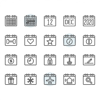 Calendar icon and symbol set in outline