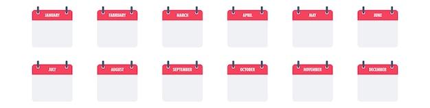 Calendar icon symbol set simple design