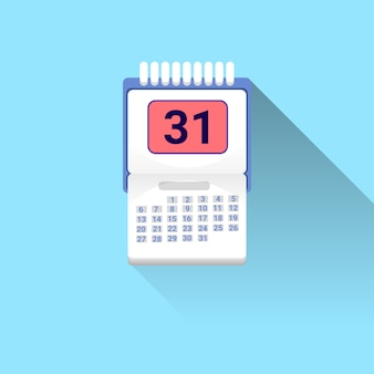 Calendar icon with shadow on blue background