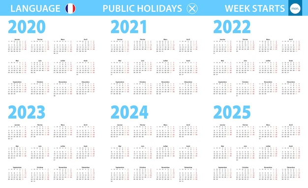 Календарь на французском языке на 2020, 2021, 2022, 2023, 2024, 2025 год. неделя начинается с понедельника.