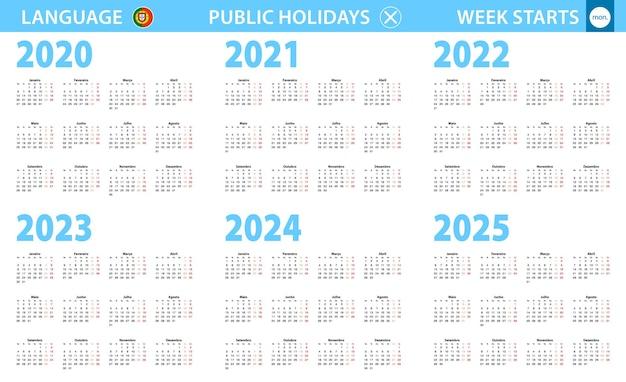 Календарь на португальском языке на 2020, 2021, 2022, 2023, 2024, 2025 год. неделя начинается с понедельника.