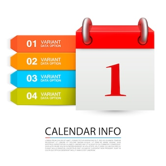 Calendar info one day on the white background . vector illustration