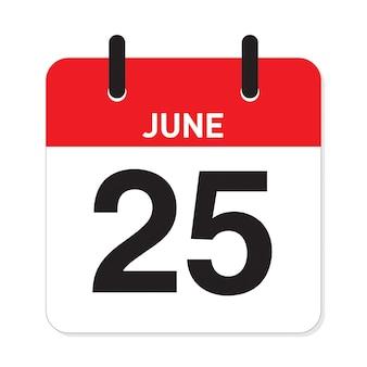 カレンダー6月25日