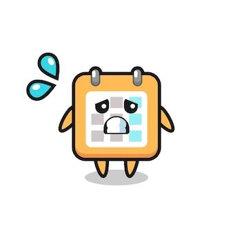 두려운 제스처가 있는 달력 마스코트 캐릭터, 티셔츠, 스티커, 로고 요소를 위한 귀여운 스타일 디자인