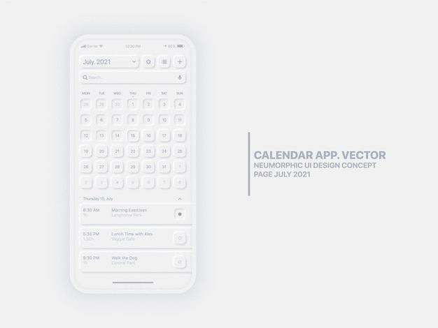 Calendar mobile app page july with task manager conceptual ui ux neumorphic design
