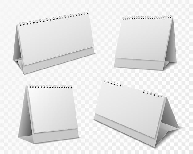 カレンダーのモックアップ。イベントリマインダー、メッセージ、透明な背景に設定されたデスクトップオフィスカレンダーの現実的なベクトルのためのスパイラルとホワイトペーパーのページで空白のオーガナイザー