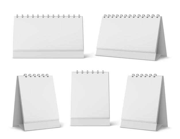 빈 페이지와 나선형 달력 모형. 바탕 화면 세로 종이 달력 흰색 배경에 고립 된 전면 및 측면보기를 모의. 의제, 연감 템플릿. 현실적인 3d 그림, 설정