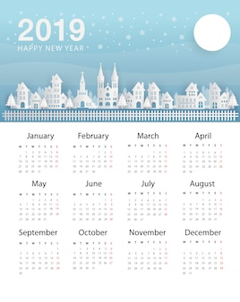 Calendar new year 2019. the city at night and black sky with winter weather.