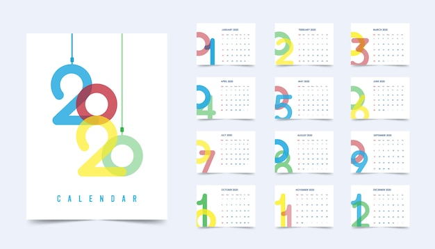 Calendar new year 2020
