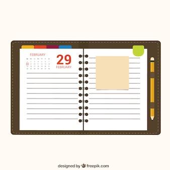 Calendar notebook paper