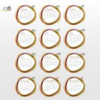 Calendar of 2016 with golden circular shapes