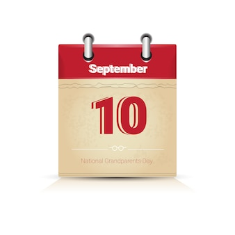 Calendar page happy grandparents day september holiday