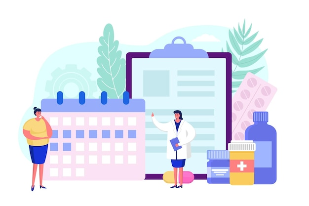 Calendar for pharmacy medicine vector illustration woman doctor character help female patient in hos...