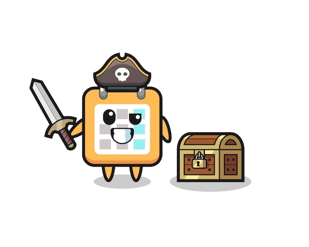 The calendar pirate character holding sword beside a treasure box , cute style design for t shirt, sticker, logo element