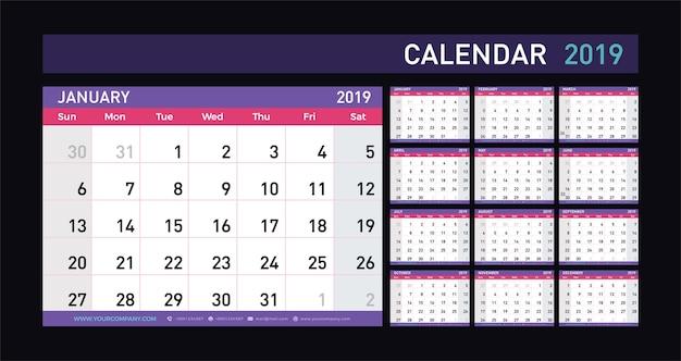 カレンダープランナー2019年