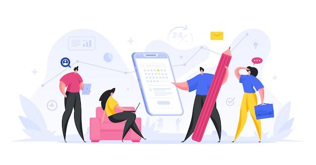 Иллюстрация веб-приложения даты напоминания календаря. подготовка и тестирование онлайн-сервиса с дедлайном. активное мобильное программирование с развертыванием сервисной платформы