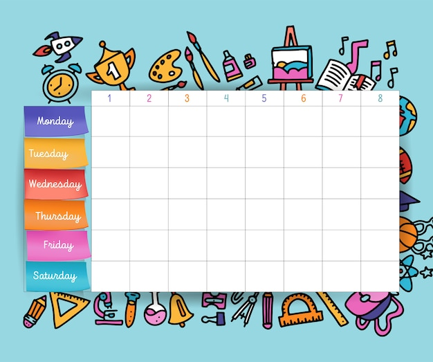 Calendar schedule with stickers. school planning or scheduling work. vector volume illustration. template school timetable for students and pupils.