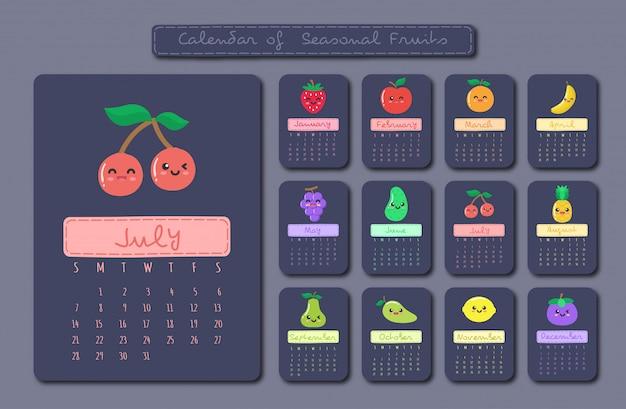 Calendar of seasonal fruits
