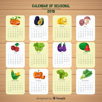 Calendar of seasonal vegetables and fruits