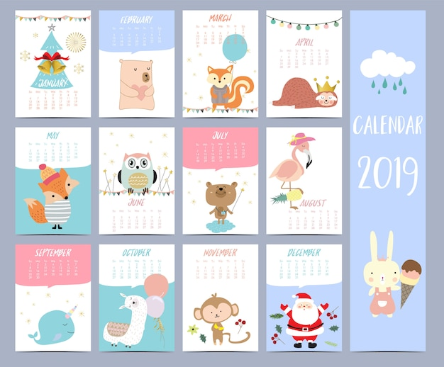 Calendar set 2019 with santa claus